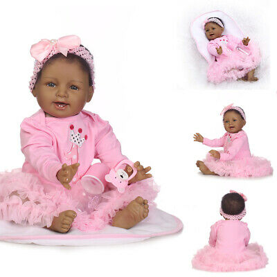 "22"" Silicone Realistic Reborn African American Doll Black Silicone Baby Dolls"