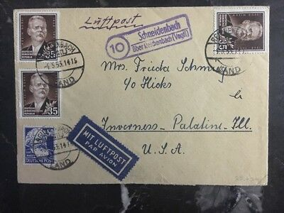 1953 Reichenbach East Germany DDR Airmail Cover To Inverness Il USA