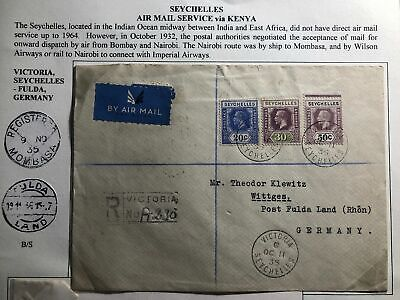 1935 Victoria Seychelles Airmail Cover To Fulda Germany Via Kenia Imperial