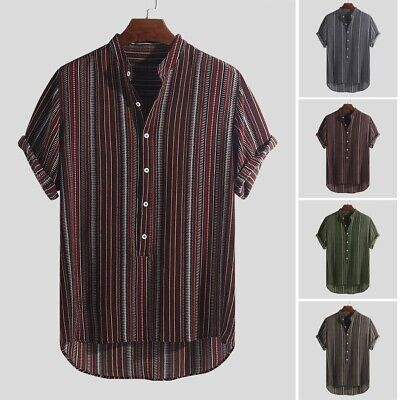Men's Summer Striped Buttons Breathable Short Sleeve Casual Henley Shirt Blouse