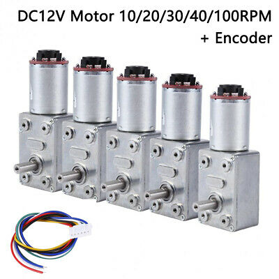 DC 12V Reversible High Torque Turbo Worm Geared Motor Encoder 10/20/30/40/100RPM