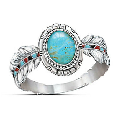 Women Retro Ring Silver Plated Feather Riong Wedding Turquoise Jewelry Size6-10