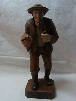 Vintage German Black Forest Carved Wood Man with Umbrella and Pipe #B