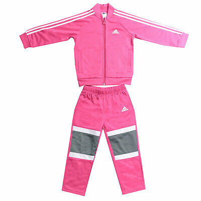 Baby Girls adidas Shiny Tracksuit In Pink- Jacket:- Zip Fastening- Pockets To