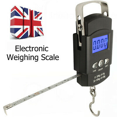 50kg Digital Travel Fish Luggage Hanging Hook Electronic Weighing Scale UK YMCl