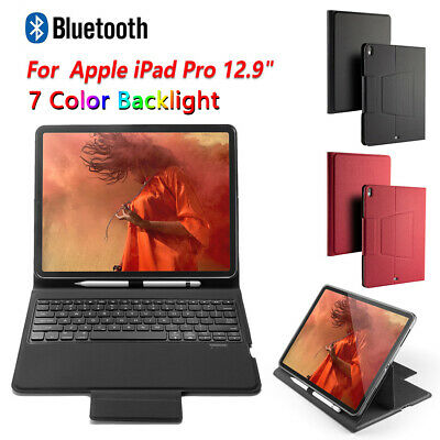"For Apple iPad Pro 12.9"" 2018 Bluetooth UK Keyboard Leather Smart Case & Stand"