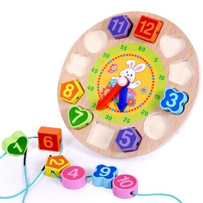 wooden kids digital geometry Clock educational toys building blocks toy T4O4