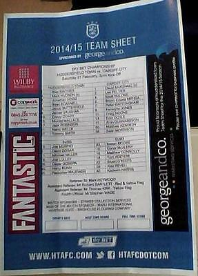HUDDERSFIELD TOWN v CARDIFF CITY 2014-15 COLOUR TEAM SHEET