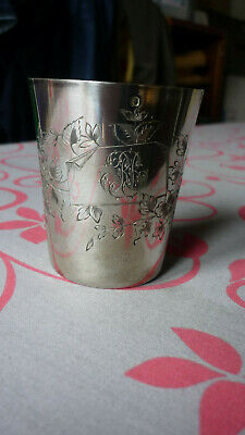 ANTIQUE FRENCH STERLING SILVER Wine Cup, Timbale or Beaker Cup ART NOUVEAU