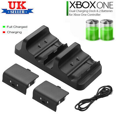 Dual USB Charging Dock + 2 Rechargeable Battery Packs For XBOX One Controller UK