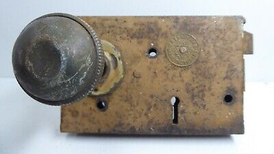Antique H&T Vaughan Victorian Door Rim Latch Lock Brass Knob