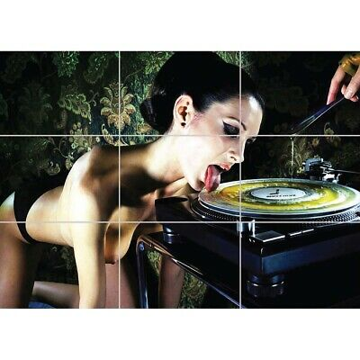 Technics DJ Girl Naked Nude Giant Wall Mural Art Poster Print 47x33 Inches