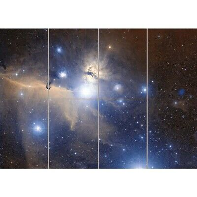 Telescope Stars Space Orion'S Belt Flame Nebula Wall Art Panel Poster 47X33""