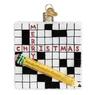 """Crossword Puzzle"" (44139)X Old World Christmas Glass Ornament w/OWC Box"