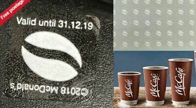 MCDONALDs COFFEE UV 600 LOYALTY WHITE STICKERS – 100 CUPS EXP 31-12-19 nice