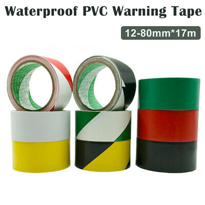 12-80mm x 17m WARNING HAZARD BARRIER SELF SAFETY ADHESIVE TAPE PVC ROLL