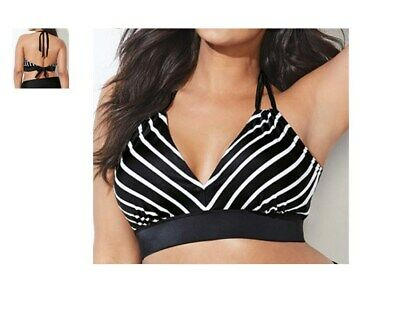 661ed96b716 SWIMSUITS FOR ALL retro look avenger halter bikini swimsuit TOP 14 stripe  f3 *