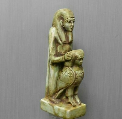 ANCIENT EGYPT ANTIQUE EGYPTIAN great statue with bird