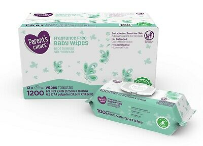 Baby Wipes Parent's Choice Fragrance Free , 12 packs of 100 (1200 count)