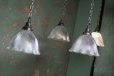 Run of 4 Edwardian Holophane Prismatic Glass Fluted Lights Pendants Antique