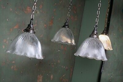 Single Edwardian Holophane Prismatic Glass Fluted Light Pendants Antique