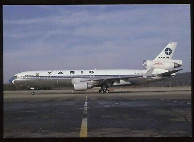 (A07) Varig Airlines Douglas MD-11 Airplane at Airport 1990s Aircraft Postcard