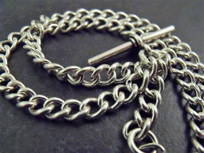 Antique Edwardian Solid Silver Double Fob Pocket Watch Albert Chain 1905