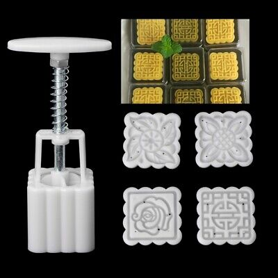 DIY Set Moon Cake Mooncake Mold Flowers Square 4 Stamps Pastry Mould Decoration