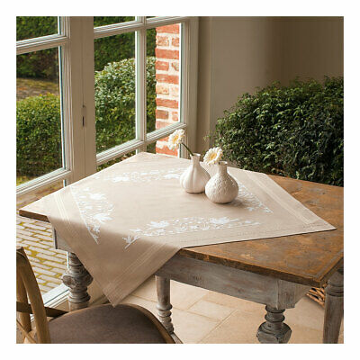 Embroidery Kit Tablecloth White Silhouette Stitched on Cotton Fabric   80 x 80cm