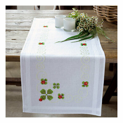 Embroidery Kit Runner Four Leaf Clover Design Stitched on Cotton Fabric 40x100cm