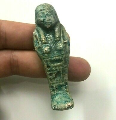ANCIENT EGYPT ANTIQUE Egyptian faience ushabti amulet f (300-1500)BC