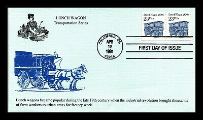 Dr Jim Stamps Us Lunch Wagon Transportation Coil Fdc Cover Pair Columbus Ohio