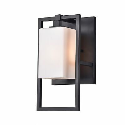 Eugenia Black Single Light Wall Sconce with Off White Glass Shade