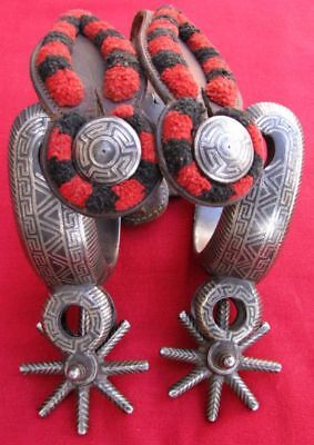 Fine Antique  Ornate Double Mounted Silver Inlaid  Custom Ra Spurs Fancy Straps