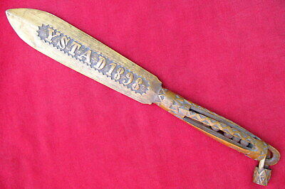 """Unique Carved Named & 1898 Dated 15"""" Bowie Style Folk Art Object D' Art Knife"""
