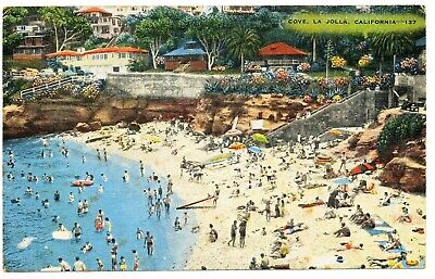 Vintage San Diego La Jolla Cove Post Card 1950s 1960s