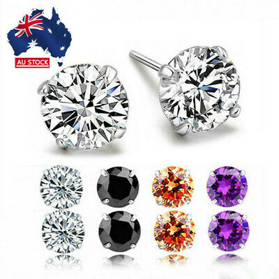 Silver Classic Crystal Cubic Zironia Round Square Clear Stud Earrings Ear Gift