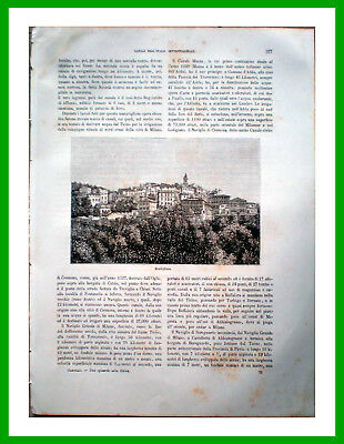 1896 Antique Print Engraving Block Printing of Bordighera Panorama Publisher