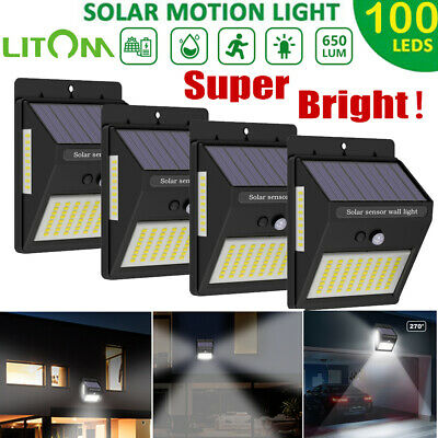 100 LED Solar Luz de Pared Impermeable PIR Sensor de Movimiento Lámpara Exterior