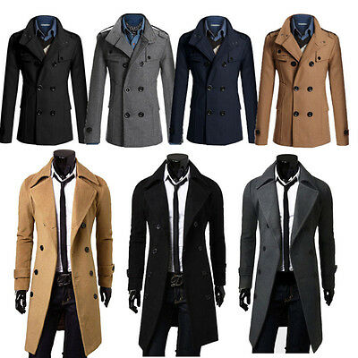 Mens Slim Stylish Gent Trench Coat Winter Long Jacket Double Breasted Overcoat