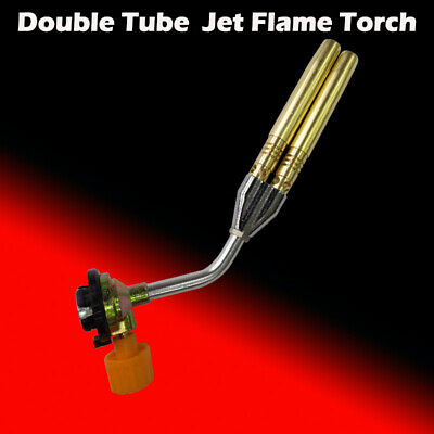 Butane Jet Flame Torch Double Tube Brazing Gas Blowtorch Lighter Burner Outdoor
