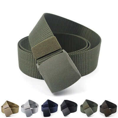Outdoor Nylon Canvas Breathable Military Men Waist Belt With Plastic Buckle