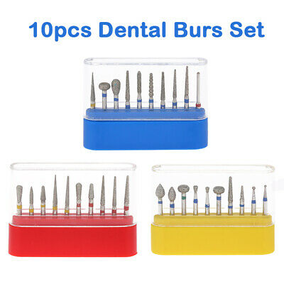 10pcs 1.6mm Dental FG Diamond Burs Drills for High Speed Handpiece Dentist Set