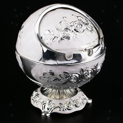 Windproof Ashtray with Lids Cigarette Ashtray Sliver Table Desk Decor Sliver