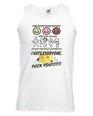 Unisex White I Hate Everyone F**k You Vest Gender Colour Size Equality