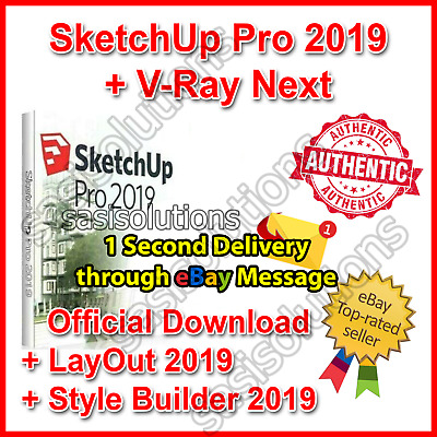 SketchUp Pro 2019 Official Download + V-Ray Lifetime License 1 Second Delivery🚀