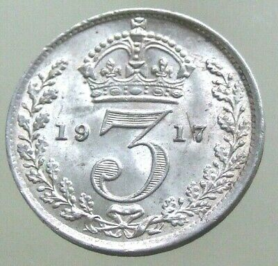 1917 WW1 Silver Threepence, Absolutely Stunning Silver 3d - FREE POSTAGE (109C)