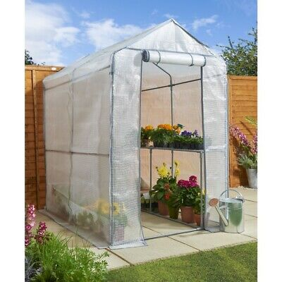 Walk In PE Greenhouse With Cover And Shelfing Staging H190xw120xd190cm