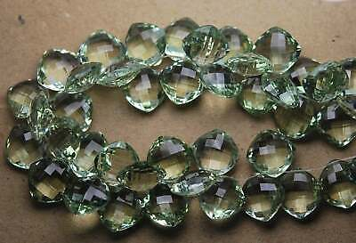 4 Match Pair Natural Green Amethyst Faceted Cushion Briolette Calibrated 12mm