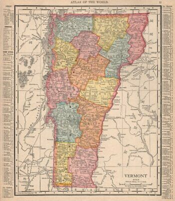 Vermont state map showing counties. RAND MCNALLY 1912 old antique chart